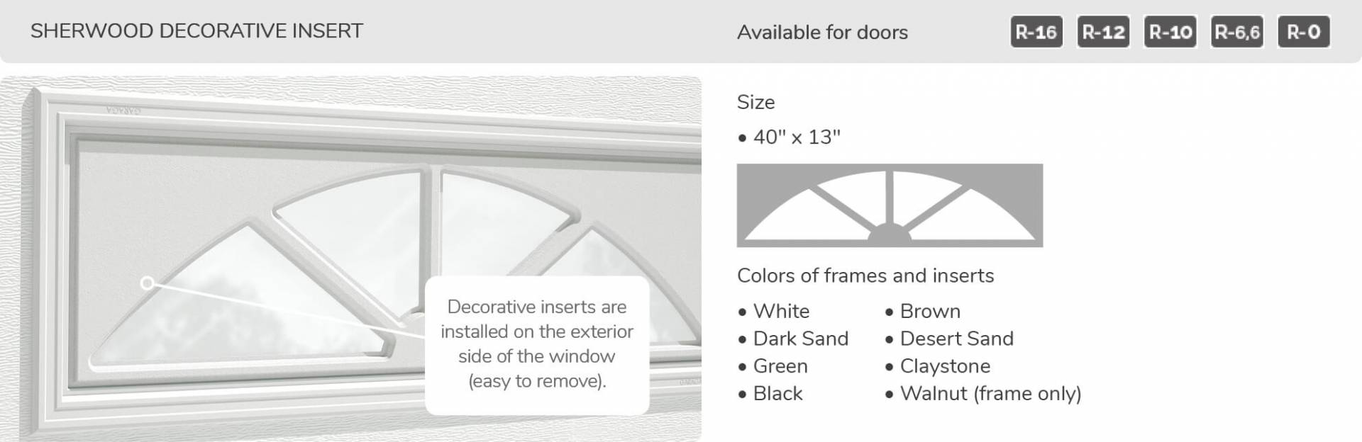 Sherwood Decorative Insert, 40' x 13', available for doors R-16, R-12, R-10, R-6,6 and R-0