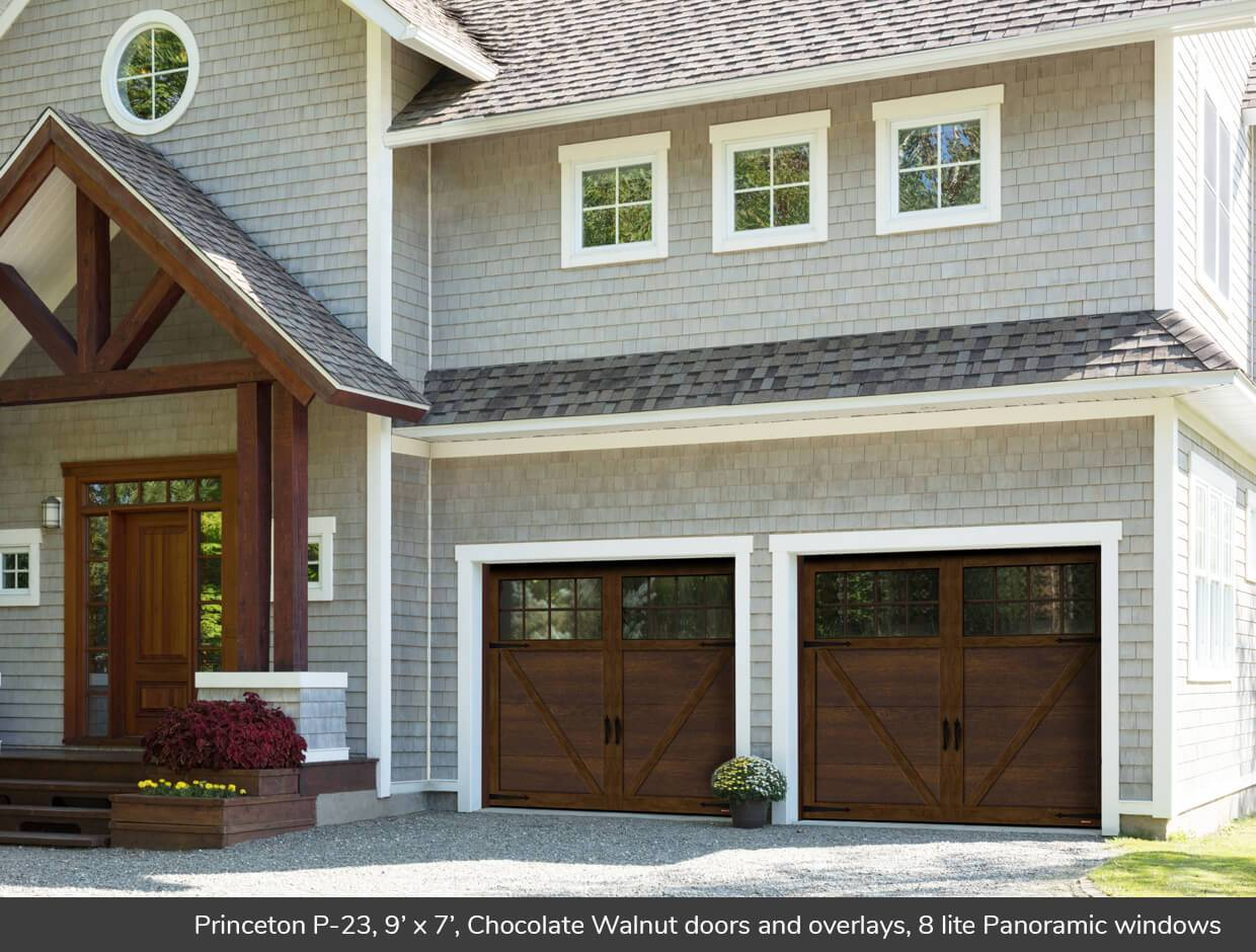 Princeton P-23, 9' x 7', Chocolate Walnut doors and overlays, 8 lite Panoramic windows